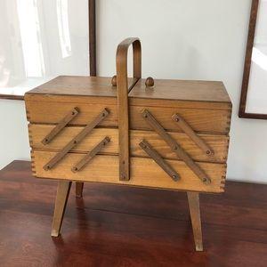 Vintage Accordion Wooden Sewing Box, 3 Tier